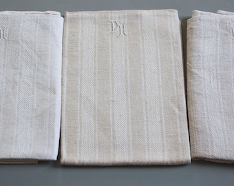 set of 3 vintage damask linen towels , pure linen damask ,  as UNUSED, DH monogrammed
