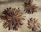 Mid Century Walnut Wood Starbursts (set of 3) Wall Art MADE TO ORDER