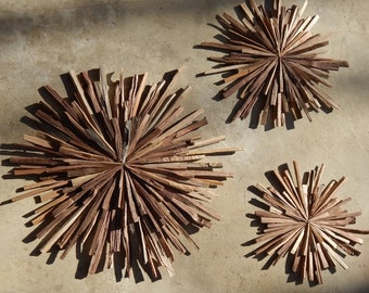 Mid Century Walnut Wood Starbursts (set of 3) Wall Art MADE TO ORDER