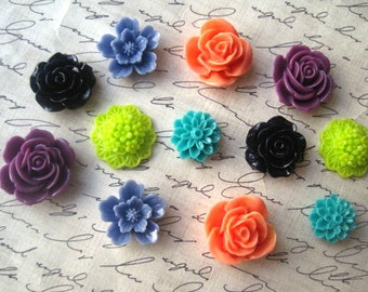 Mixed Flower Cabs, 12 pcs Coral, Navy, Lime Green, Dark Lilac, Teal, Cornflower Blue Resin Cabochon Flowers, No Holes, 15mm to 23mm