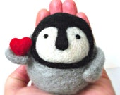Penguin love- Penguin Red heart - Needle Felt Baby Penguin with Heart - Chubby Valentine