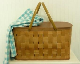 1970s Woven Wood Picnic Basket, Warm Golden Wood, Hawkeye Burlington Basket Company - Vintage Travel Trailer Decor