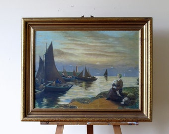 Vintage seascape painting, fisherman at shore, fishing boats seascape.