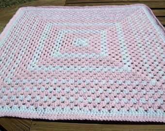 Baby Girl/Child Blanket/Afghan Hand Crocheted Pastel Pink Yarn White Yarn 34 Inches Square Granny Square READY TO SHIP