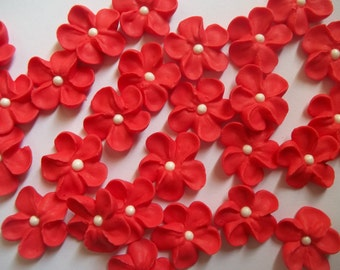 Small red royal icing flowers -- Edible cake decorations cupcake toppers (24 pieces)