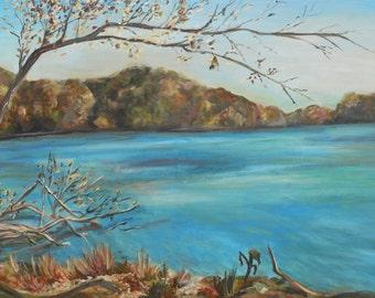 "Radnor Lake Landscape Nashville ORIGINAL 45""x15"" Acrylic Painting"