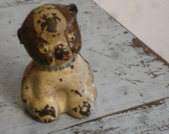 1914 Hubley Fido Bank , Cast Iron Dog Bank ,Dogs , Pugs, Antique Cast Iron