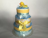 Yellow and Blue- Rubber Ducky Diaper Cake- 3 Tier