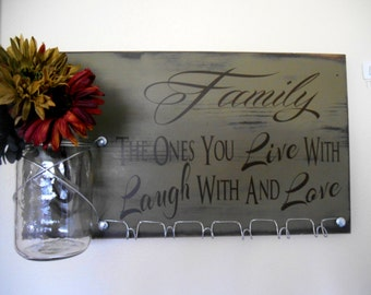 Family Kitchen Organizer or Key Holder and Family Quote Board Wall Display with Glass Vase  - Ready to Ship SALE PRICE