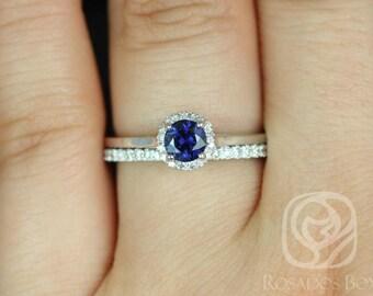 Rosados Box Amerie 0.52ct & Amanda 14k White Gold Blue Sapphire and Diamonds Wedding Set