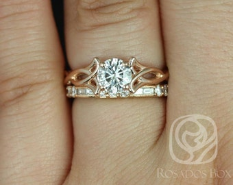 Rosados Box Orla 6mm & Gabriella 14kt Rose Gold Round F1- Moissanite and Diamonds Celtic Knot Triquetra Wedding Set