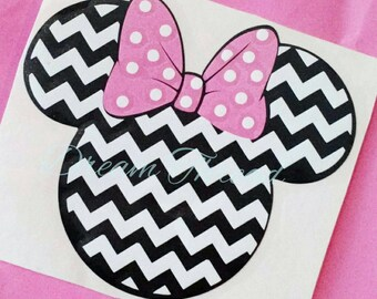 Minnie Mouse chevron Decal, Disney, laptop Decal, yeti decal, car Decal, girly (made to order)