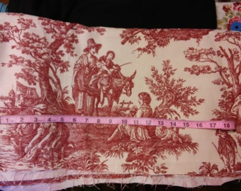 Country Life Toile Waverly fabric, Garnet red, Remnant
