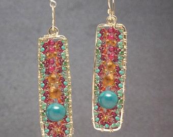 Drop Chandelier Gemstone Earrings pink ruby, mandarin garnet, peridot, turquoise Bohemian 176