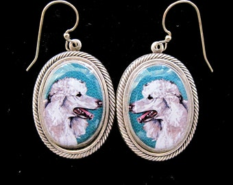 Poodle Classic Sterling Silver Plate Earrings