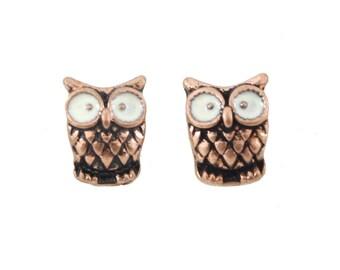 TINY Cute Copper-tone Big Eye Owl Stud Earrings,B17