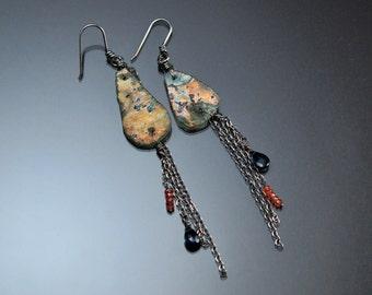 Ancient Greek Glass, Long Sterling Silver Earrings, London Blue Topaz, Orange Sapphire