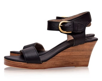 SALE. Sz. 7.5. DREAMER. Brown leather wedges  / women shoes / high heels / leather shoes / boho style shoes.