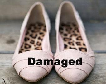 Damaged (picture 2 depicts damages) - Blush Wedding Flats/Wedding Shoes, Blush Flats with Ivory Lace. US Size 7.5