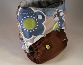 OS AIO Diaper The Brown One with the Flower