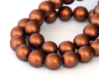 Matte Copper Czech Glass Beads, 8mm Round - 25 pcs - e0176-8r