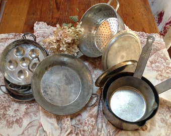 Vintage french pots and pans, vintage french , french kitchen ware , french metal pieces distressed country french pots , pans , escargot