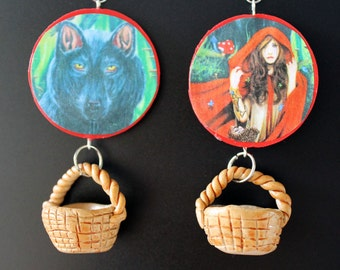 Red Riding Hood Earrings w/ Baskets