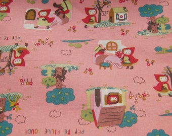 Pink Little Red Riding Hood  Cotton Fabric, Fabric By The Yard, Cotton Fabric Kawaii Fabric, Pink Cotton Fabric,Fairy Tale Fabric