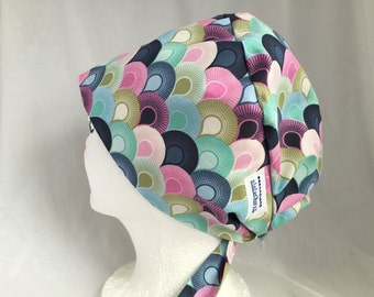 Scrub Hat Tie Back Pixie Style Designer Fabric Tula Pink Chain Mail Sky