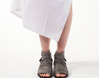 Boot sandals in Gray, Closed sandals, Boot sandals, Flat leather shoes, Gray open toe sandals