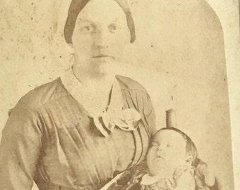 Mother & Post Mortem Baby Cabinet Card Photo Buchtel Portland Oregon