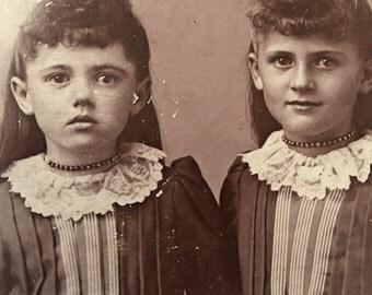 Twins Little Girls Antique Photo Zeta & Zola Hummel by Hall, Monroe, Iowa
