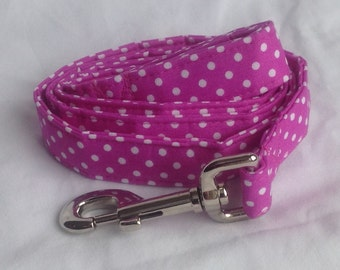Dog Leash - Magneta/White Mini Polka Dot