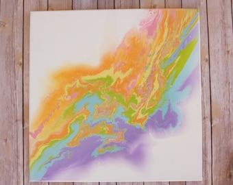 Rainbow Abstract Painting Original Canvas Acrylic Painting Modern Painting Modern Wall Decor Contemporary Art 20x20 inch