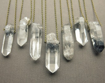 Tibetan Quartz Necklace - Healing Crystal Necklace - Phantom Quartz Necklace - Quartz Crystal Necklace - Raw Crystal Pendant Stone Necklace