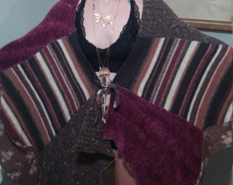 Upcycled sweater poncho XS-XL..junk gypsy bohemian sweater poncho..urban gypsy poncho..eco clothing..boho clothing..recycled sweater coat..