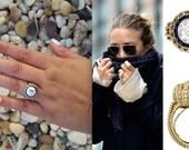 18k gold Art Deco Cartier inspired ring setting