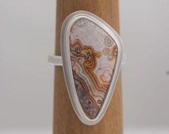 Crazy lace agate, size 7 sterling silver ring, #614.