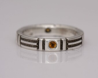 Citrine ring, silver and flush set citrine stacking band, size 7 1/4, #694.
