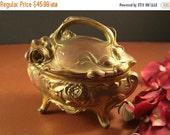 30% OFF SALE Art Nouveau Ormolu Jewelry Casket // Original Antique Silk Lining  // B W Trinket Dresser Box // from Successionary