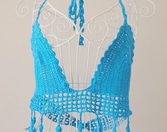 Crochet Bikini,Top,Fringe Bikini,Tassel Top,Swimwear,Beachwear,Beachwear,Festival Top,Turquoise