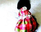 Small Dog's Silk Party Dress - Petal Pink, Berry, Milk Chocolate, and Avocado Check with Shabby Chic and Embroidery Trim Custom Yorkie Size