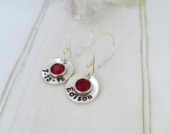 Personalized Earrings, Sterling Silver Earrings, Customized Birthstone Earring, Crystal or Pearl, Dangle, Personalized name Earring, quote