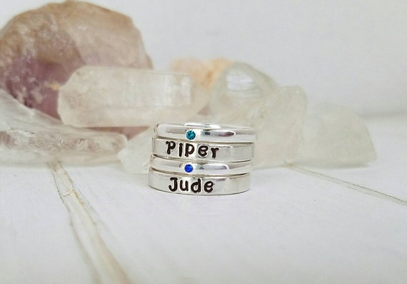 4 Stacking Rings, Sterling Silver Name Ring, Birthstone ring, Stackable Name Ring, Personalized Name Ring, Mothers ring, Name Ring, set of 4