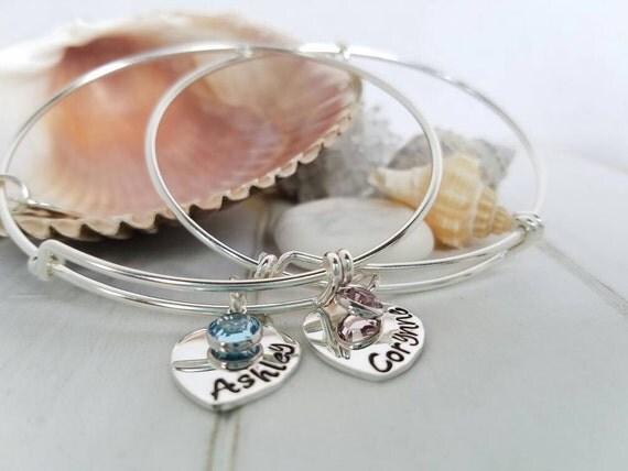 2 Expandable Charm Bracelets, Sterling Silver Bangle, Personalized Name bracelet, Adjustable stacking bracelets, Stackable bangle Bracelets