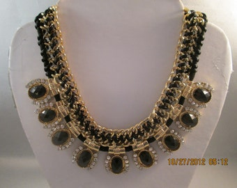 Gold Tone Chain Choker Necklace with Woven Black Ribbom, Black Crystal Beads, Clear Rhinestones Pendants on a Black Cord Chain