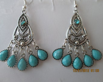 Silver Tone Chandelier Earrings with Turquoise Color Teardrop Beads Dangles