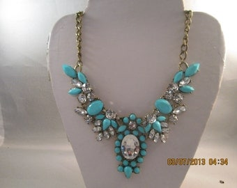 Turquoise and Clear CrystalBeads Pendant Necklace on a Bronze Tone Chain