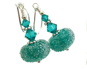 Sugar frosted Green Teal lampwork earrings, topped with teal Swarovski crystals, Sterling silver