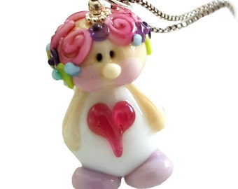 Adorable lampwork Fairy Necklace, Sterling silver